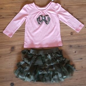 NWT {The Childrens Place} Pink & Camo Skirt Outfit